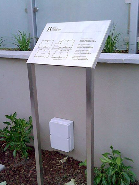 Freestanding metal lectern wayfinding