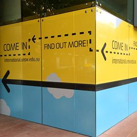 One way vision window graphic