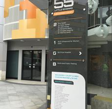 Toughened glass building and directory sign