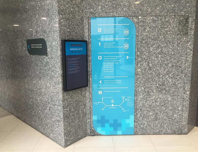 Glass wayfinding and digital directory