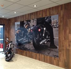 Digital image applied to substrate and wall mounted to timber feature wall