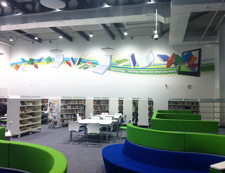 Library wall graphic