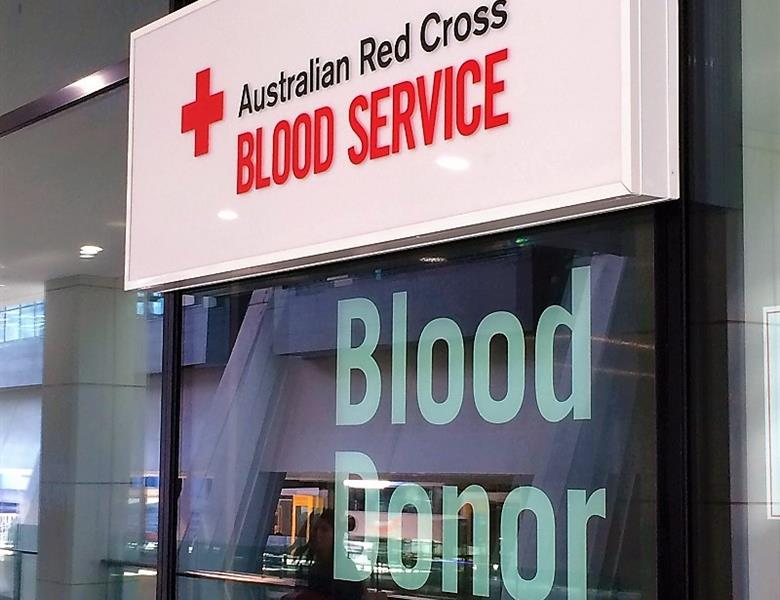 Light Box and Vinyl Lettering - Australian Red Cross