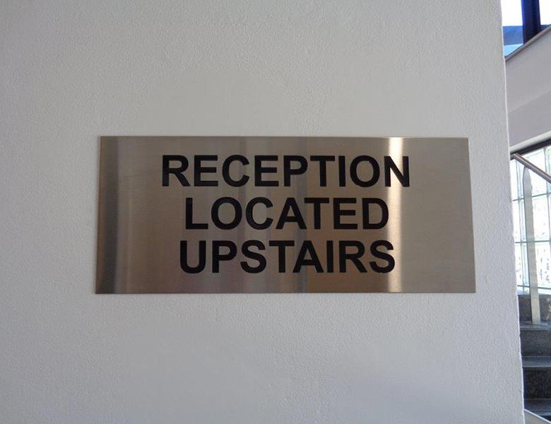 Engraved reception sign