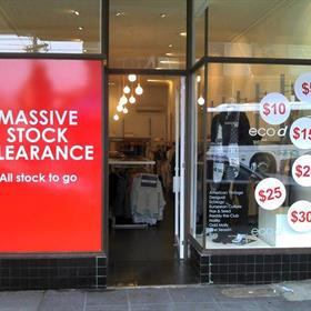 Stock clearance window graphic